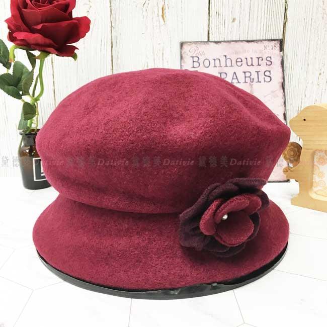 台灣製 羊毛 優雅女士 酒紅色 山茶花 珍珠 秋冬 帽子