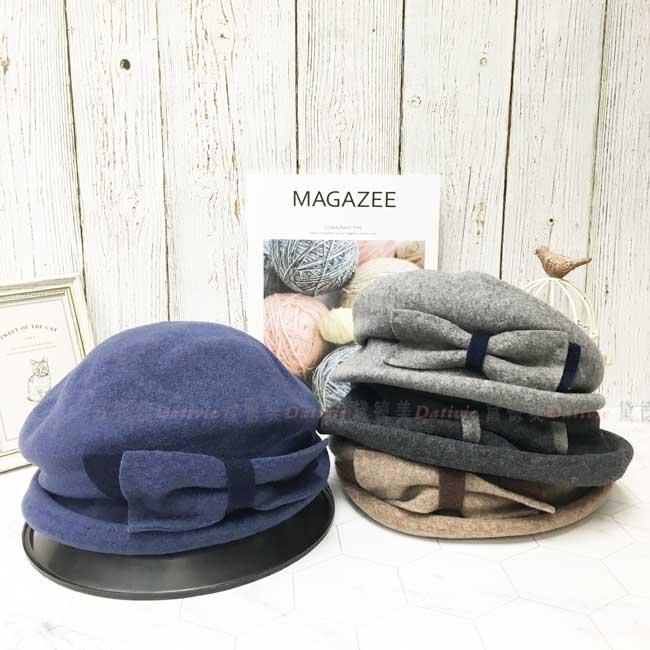 台灣製 羊毛 英倫風 雙色蝴蝶結 素面 淑女帽 毛帽 保暖 圓頂 成人帽