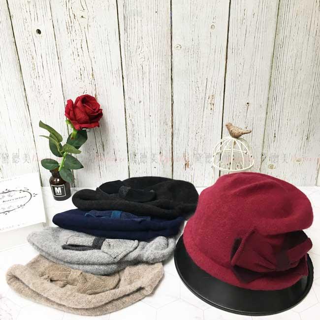 台灣製 羊毛 兔毛 保暖 多色選 捲邊 大蝴蝶結 針織 秋冬 帽子
