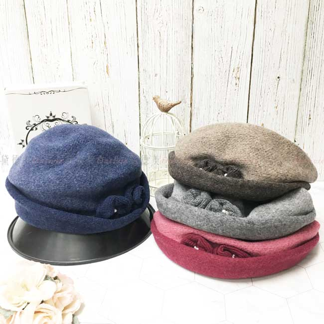 台灣製 純羊毛 英倫風 珍珠雙玫瑰 漸層 淑女帽 皮革綁帶 毛帽 保暖 圓頂 成人帽