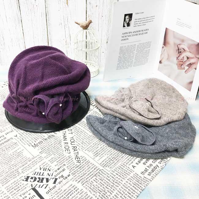 台灣製 羊毛 兔毛 英倫風 皺褶 花朵 珍珠 淑女帽 毛帽 保暖 圓頂 成人帽