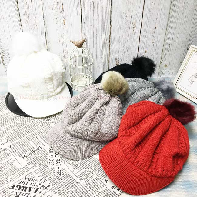 台灣製加絨加厚 保暖 多色選 貝雷帽 鴨舌 針織 毛球 秋冬 帽子
