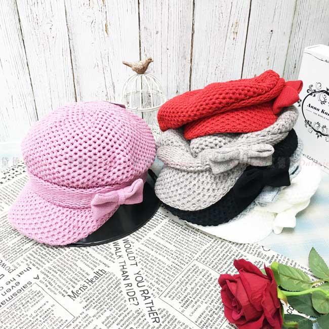 台灣製加絨加厚 保暖 多色選 貝雷帽 鴨舌 針織 蝴蝶結 秋冬 帽子
