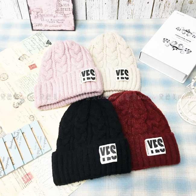 毛線帽 加絨加厚 保暖 英文字母 多色選 針織 秋冬 帽子