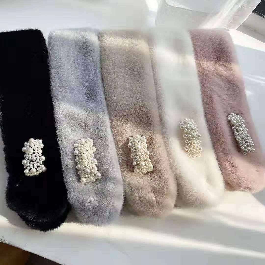 圍巾 圍脖 保暖 毛絨 優雅 珍珠 四款