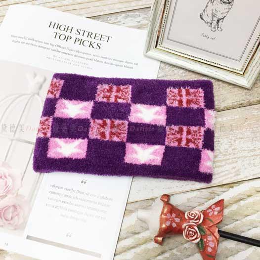 圍脖 格子 國旗 毛絨 親膚 保暖 鮮豔 紫色 兒童