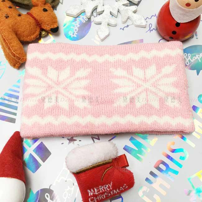 圍脖 冬季 聖誕 雪花 針織 親膚 保暖 粉色 兒童