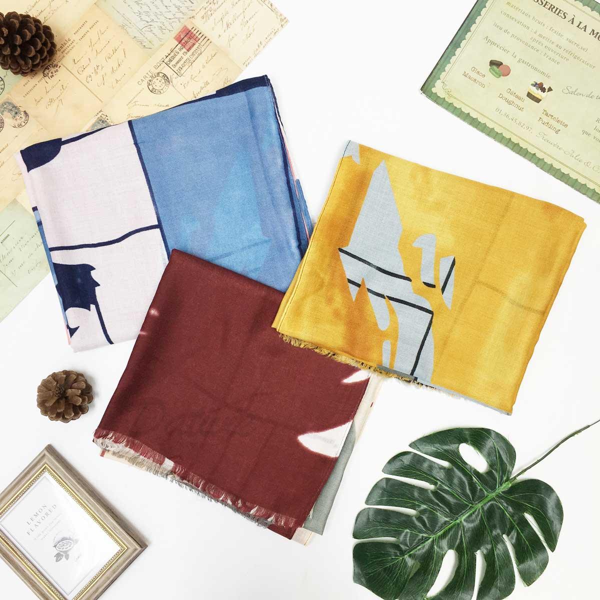 圍巾 絲巾 披肩 混搭撞色 抽象 不收邊 抽鬚 三款