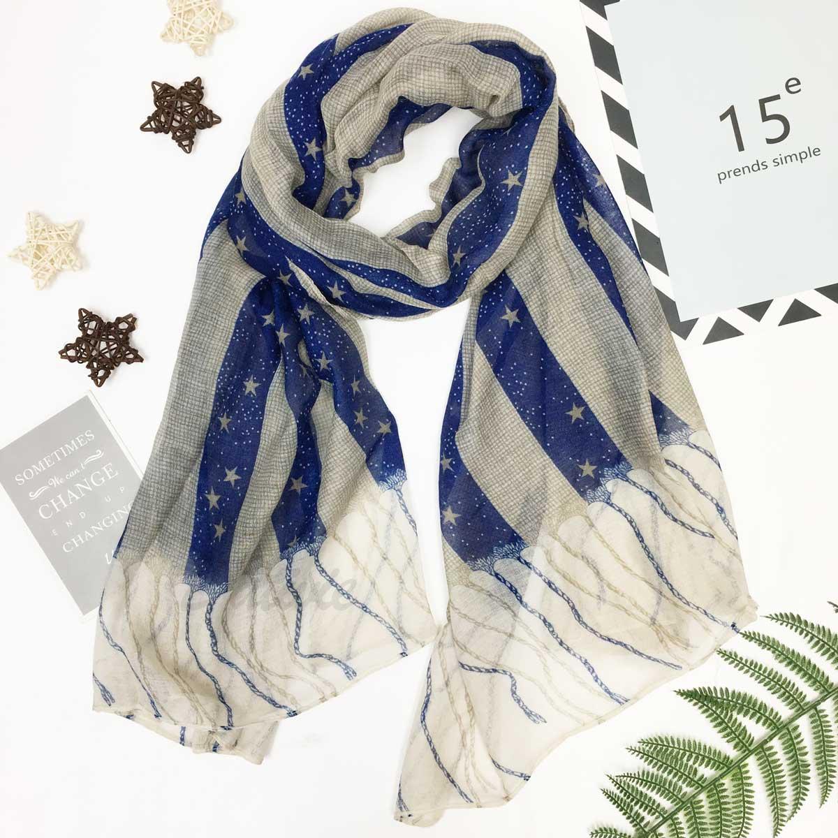 圍巾 披肩 星星 撞色 抽象 假流蘇 薄圍巾