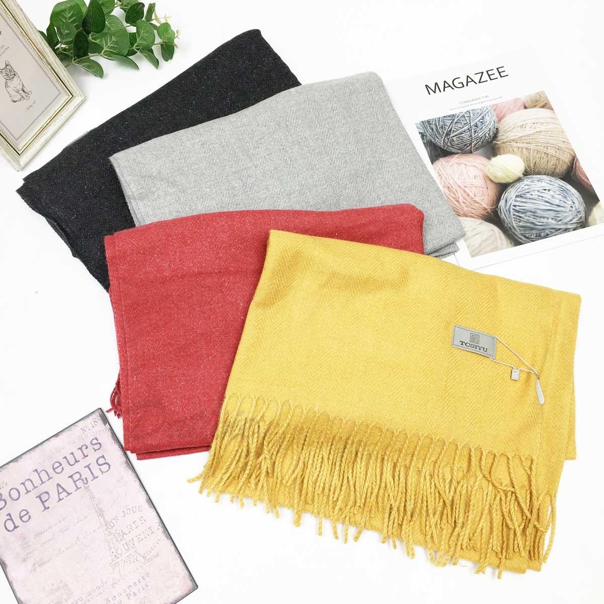 圍巾 披肩 混毛料 親膚柔暖 流蘇 保暖圍巾 四款