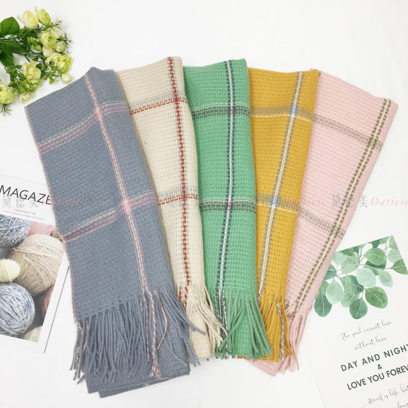 圍巾 秋冬 大格紋 編織紋 流蘇 保暖圍巾 五款