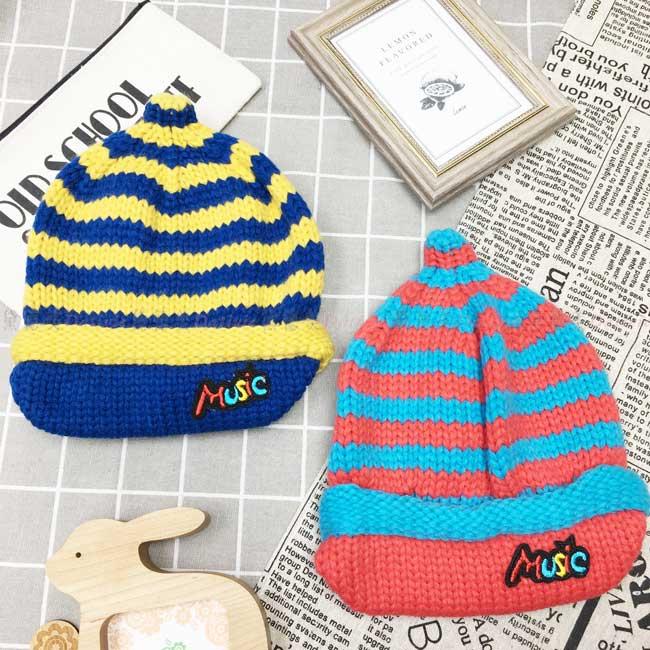 毛帽 針織 條紋 南瓜造型 帽簷 英文字母 可愛 保暖 2色 帽子 兒童毛帽
