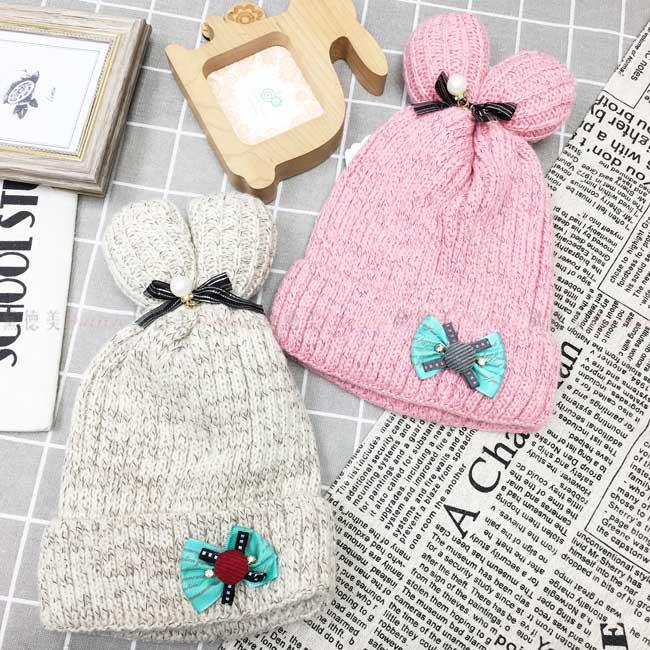 兒童毛帽 蝴蝶結緞帶 鈕扣 水鑽 造型耳朵 俏皮 2色 保暖 帽子 毛帽