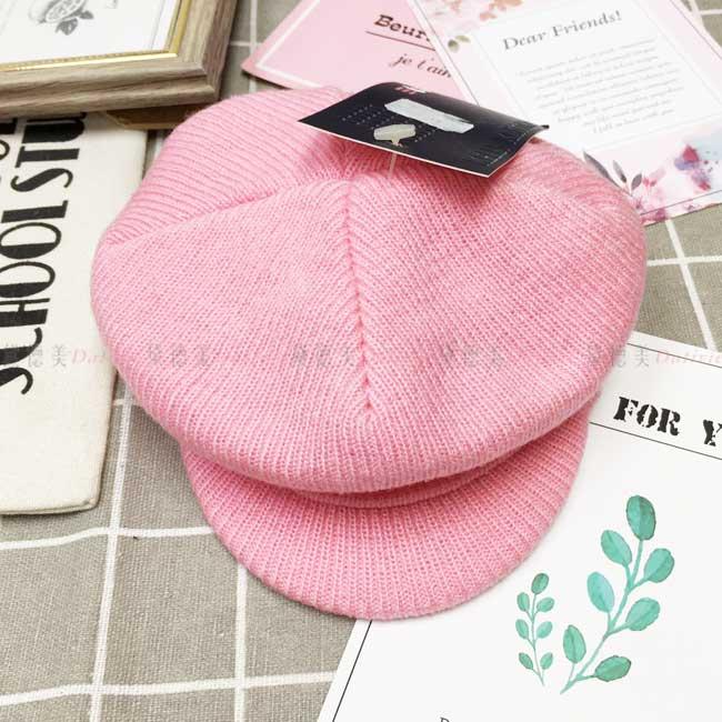 兒童毛帽  針織 貝蕾帽 報童帽 素面素色 可愛 粉色 秋冬 帽子