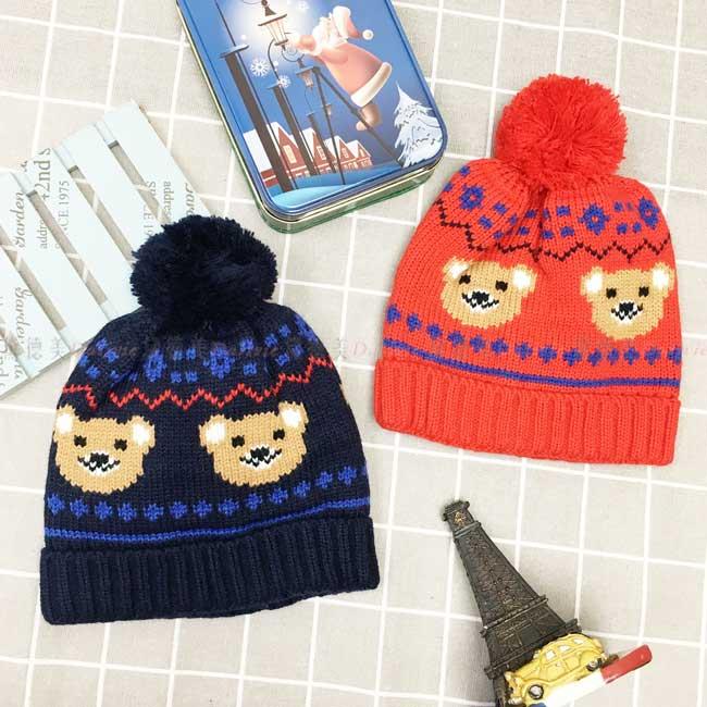 毛帽 針織 圖騰 小熊 毛線球 可愛 保暖 2色 帽子 兒童毛帽