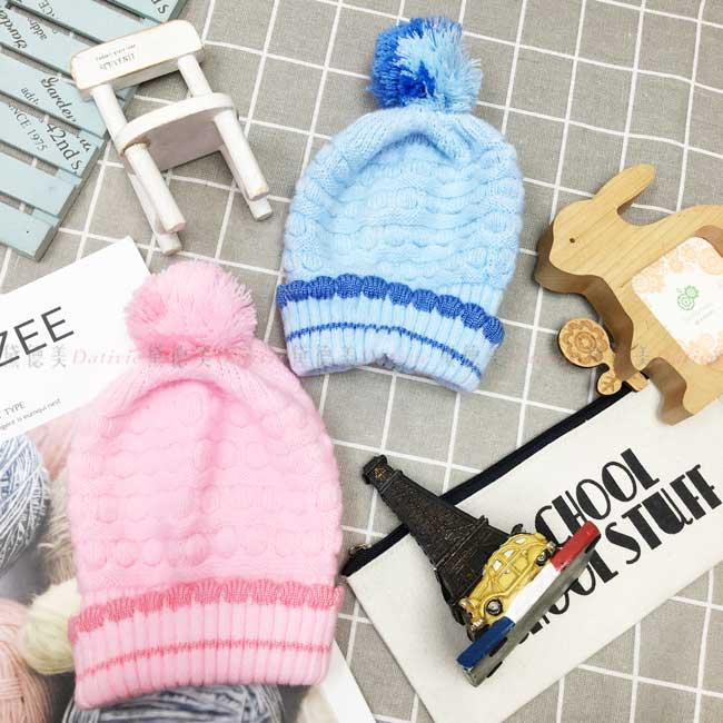 毛帽 針織 編織 素面素色 雙色毛線球 保暖 2色 帽子 兒童毛帽