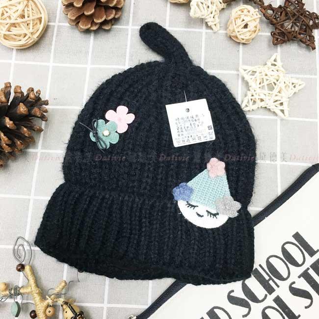 兒童毛帽 晴天娃娃 小花 蝴蝶結 水鑽 刺繡布貼 針織 俏皮 可愛 黑色 秋冬 帽子