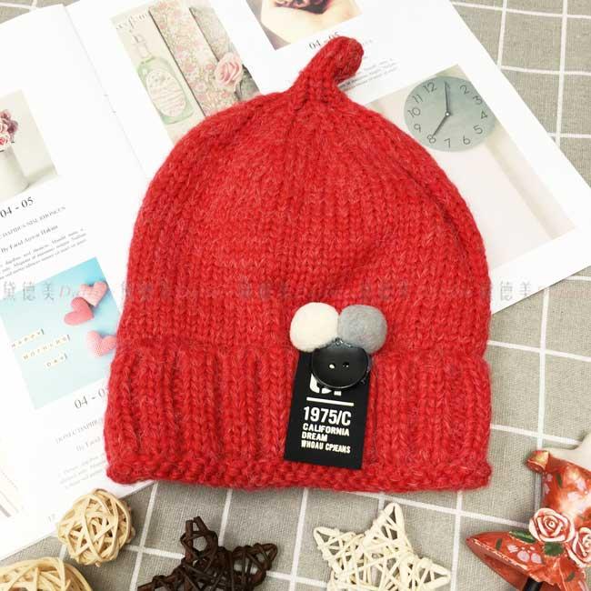 毛帽 針織 加絨加厚 南瓜造型 毛球 鈕扣 字母牌子 可愛 保暖 紅色 帽子 兒童毛帽