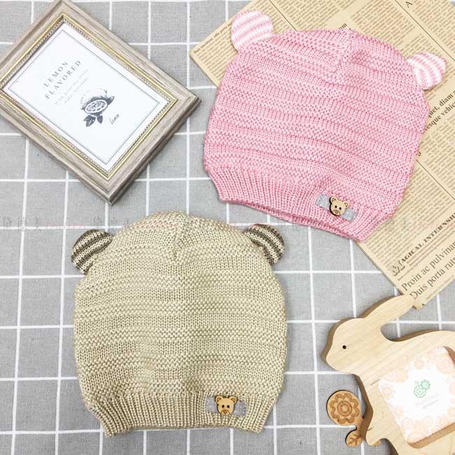 毛帽 針織 熊耳朵 條紋 小熊鈕扣 可愛 保暖 2色 帽子 兒童毛帽