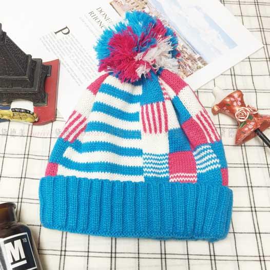 兒童毛帽 針織 藍白桃3色拚色 條紋 格子 點點 幾何圖形 毛線球 冬季保暖毛帽 帽子