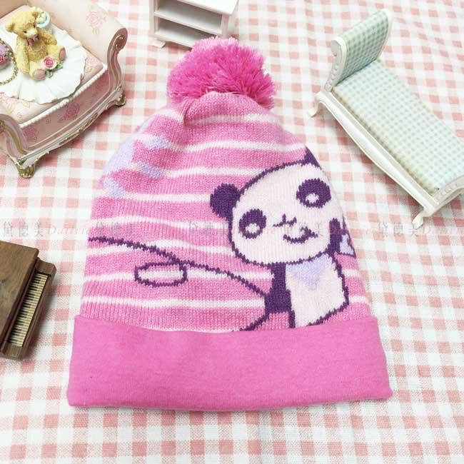 兒童毛帽 針織 條紋 太陽 貓熊 可愛 毛線球 粉色 冬季保暖毛帽 帽子