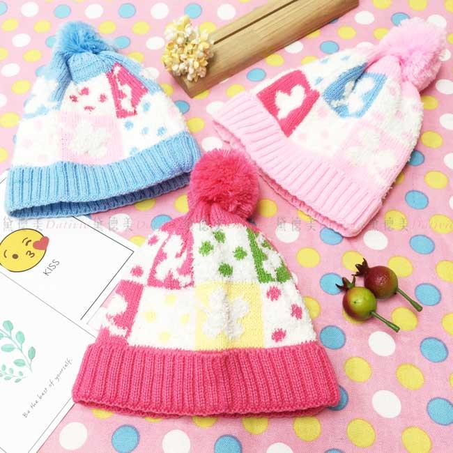 毛帽 針織 格子 點點 幸運草 毛線球 保暖 3色選 帽子 兒童毛帽