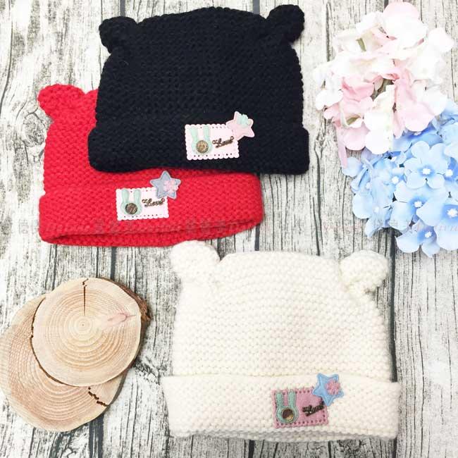 毛帽 針織 加絨加厚 素色 小熊耳朵 刺繡貼布 兔子 鈕扣 星星 小花 金屬字母 保暖 3色選 帽子 兒童毛帽