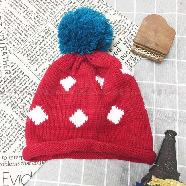 兒童毛帽 針織 捲邊 菱形 格子 毛線球 紅色 冬季保暖毛帽 帽子