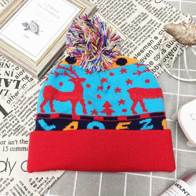 兒童毛帽 針織 拚色 條紋 點點 雪花 聖誕樹 麋鹿 可愛 字母 彩色毛線球 冬季保暖毛帽 帽子