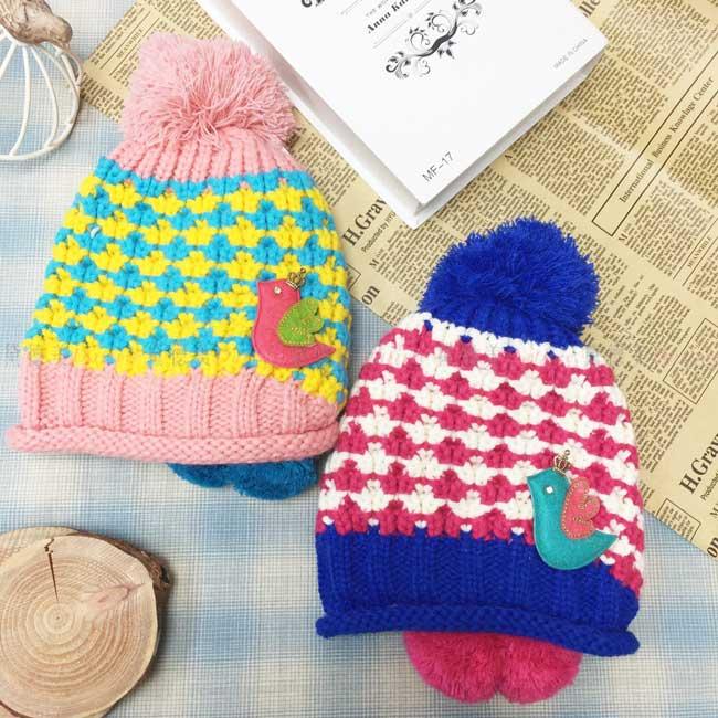 毛帽 針織 加絨加厚 混色編織 鴿子 皇冠 水鑽 蝴蝶結 毛線球 可愛 保暖 2色 帽子 兒童毛帽