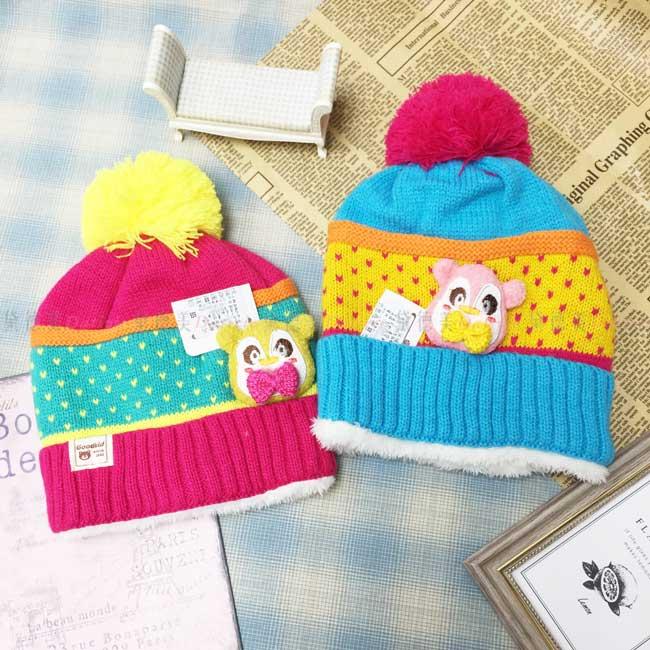 毛帽 針織 加絨加厚 拚色 點點 浣熊娃娃 毛線球 可愛 保暖 2色 帽子 兒童毛帽