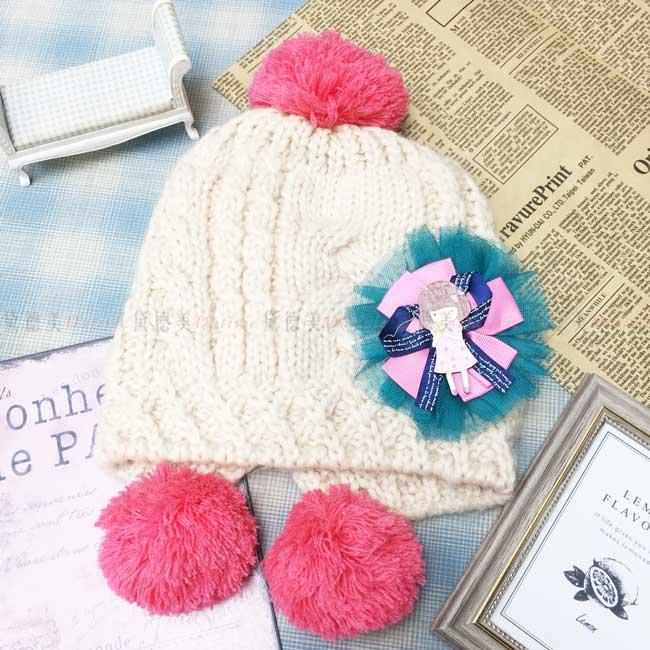 兒童毛帽 加絨加厚 針織 編織 網紗 緞帶 蝴蝶結 木頭女孩 可愛 米色 秋冬 帽子