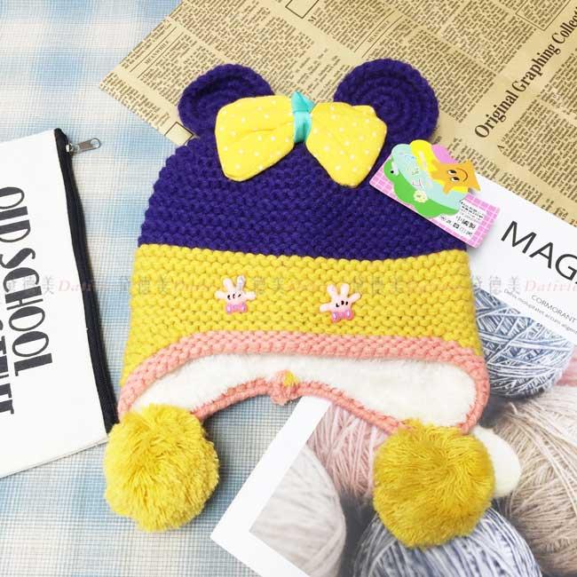 兒童毛帽 加絨加厚 針織 拚色 米妮造型 手掌 蝴蝶結 可愛 秋冬保暖 帽子