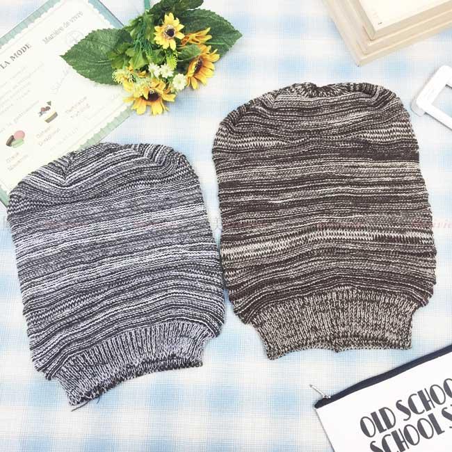 毛帽 針織 條紋 皺褶 堆疊 保暖 2色 帽子