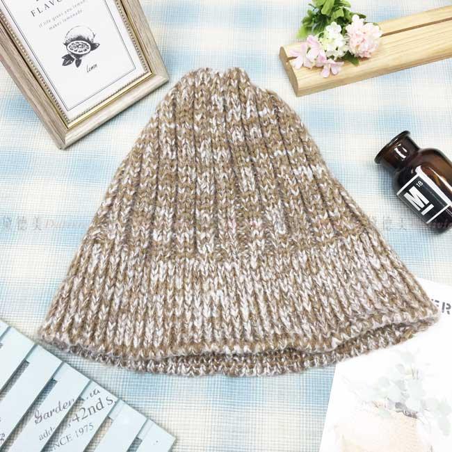 毛帽 針織 編織 圓頂 漁夫帽 盆帽 保暖 燕麥色 帽子