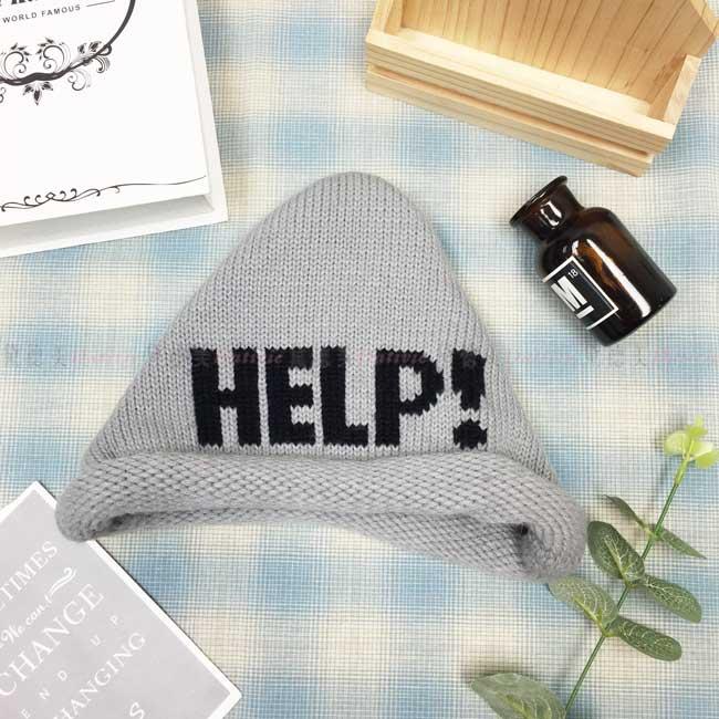 毛帽 針織 編織 捲邊 英文字母 可愛 保暖 灰色 帽子