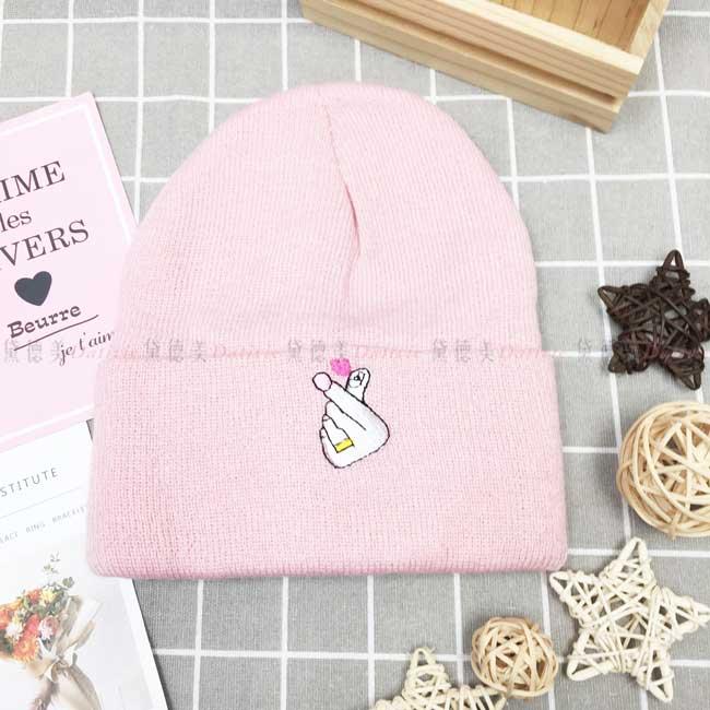 毛帽 針織 反摺 刺繡 手比愛心 可愛 保暖 粉色 帽子