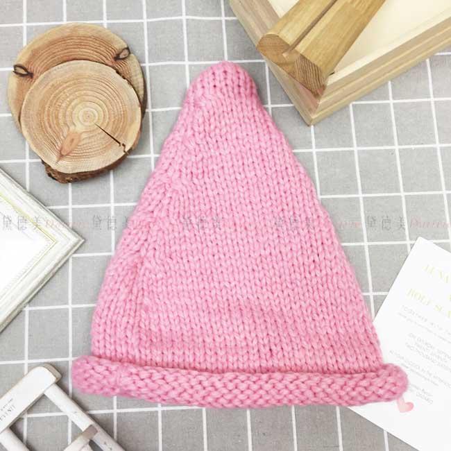毛帽 針織 編織 捲邊 素色素面 保暖 粉色 帽子