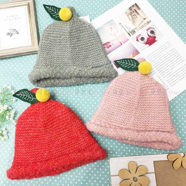 兒童毛帽 針織 加絨加厚 混金線 大吉大利 捲邊 保暖 3色 帽子