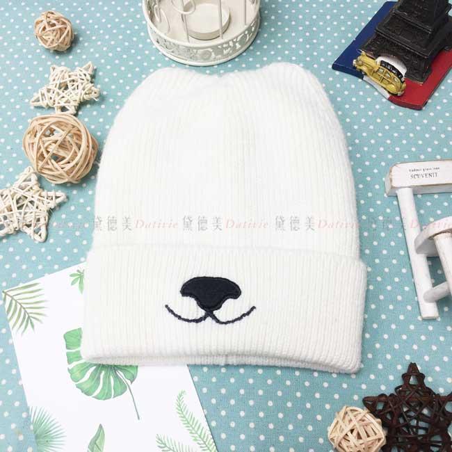 毛帽 針織 加絨加厚 反摺 貓耳造型 可愛 保暖 白色 帽子