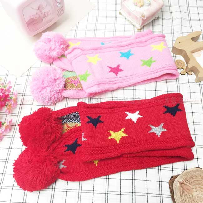 圍巾 圍脖 針織 捲邊 彩色星星 毛線球 親膚 保暖 鮮豔 可愛 2色 兒童