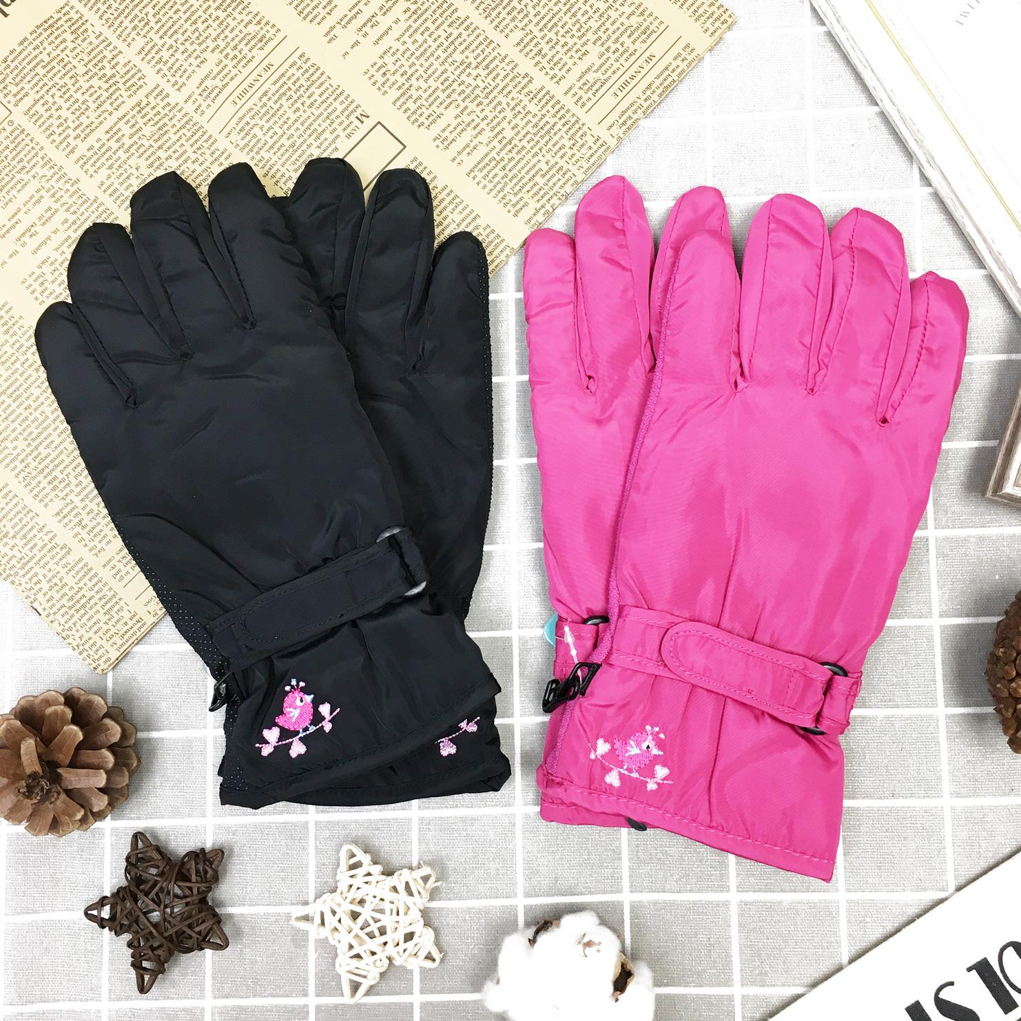 觸控手套 防風 防水 小鳥刺繡 內刷毛 保暖 防滑 2色 手套