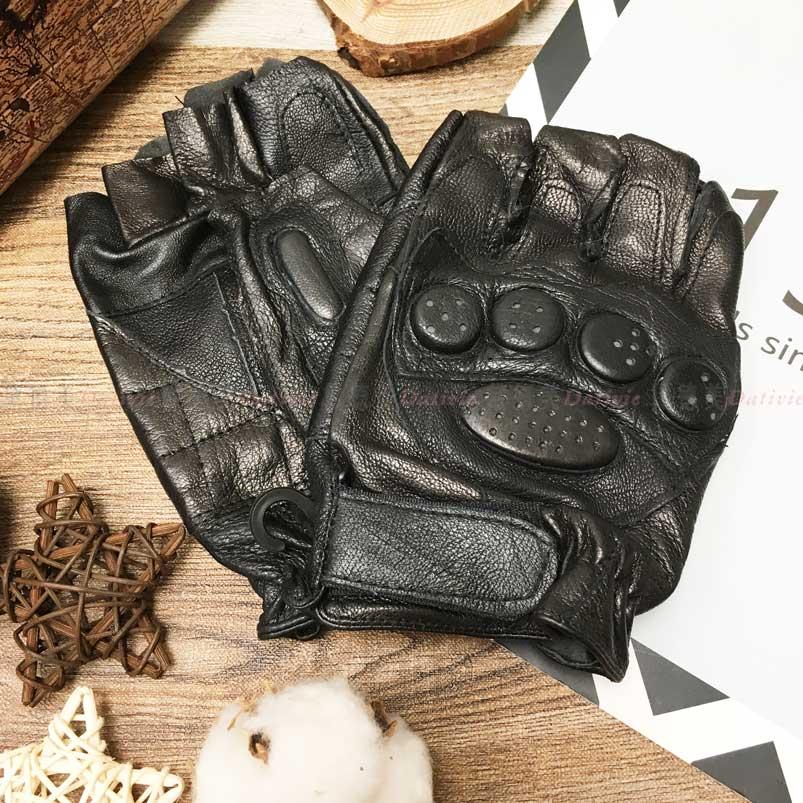 小羊皮手套 露指 素色 保暖 黑色 手套