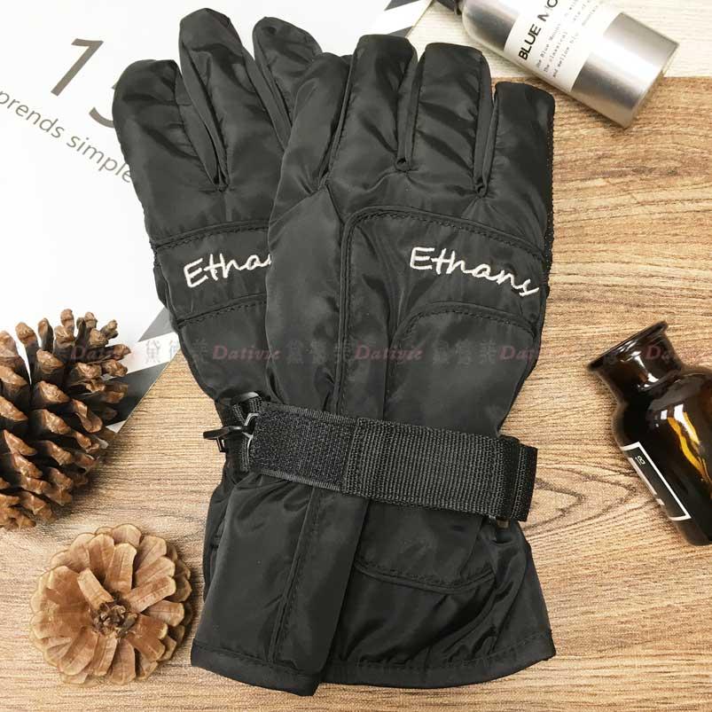 防風手套 防水 止滑 內刷毛 字母 保暖 黑色 手套