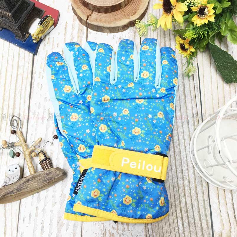 觸控 防風手套 防水 止滑 花漾少女 內刷毛 保暖 手套