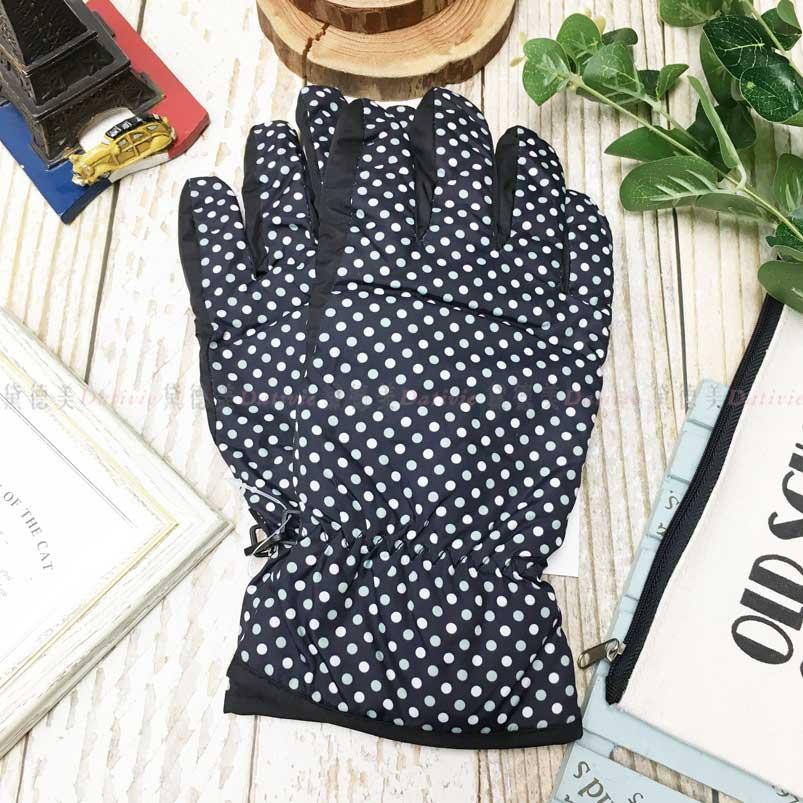 觸控 防風手套 防水 止滑 綠白點點 內刷毛 保暖 手套