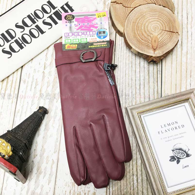 皮手套 防寒 防滑 素色 扣環 內刷毛 保暖 酒紅色 手套(女用)