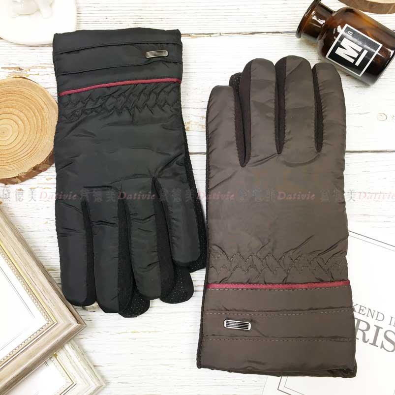 觸控 防風手套 紅色條紋 金屬扣裝飾 內刷毛 保暖 防滑 2色 手套