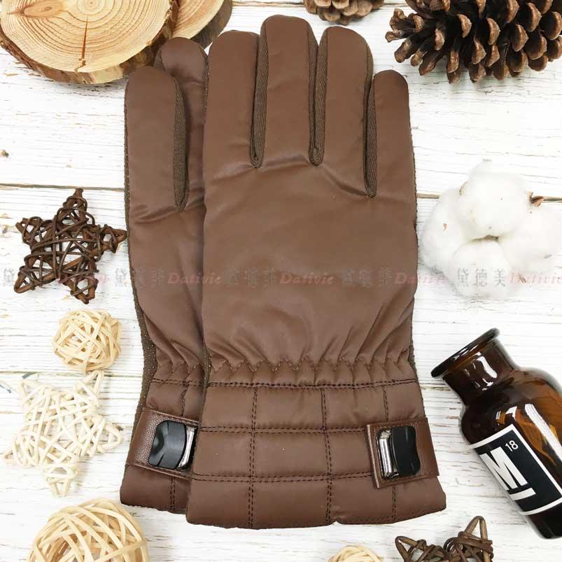 觸控 防風手套 止滑 內刷毛 格紋 金屬壓克力釦裝飾 保暖 咖色 手套