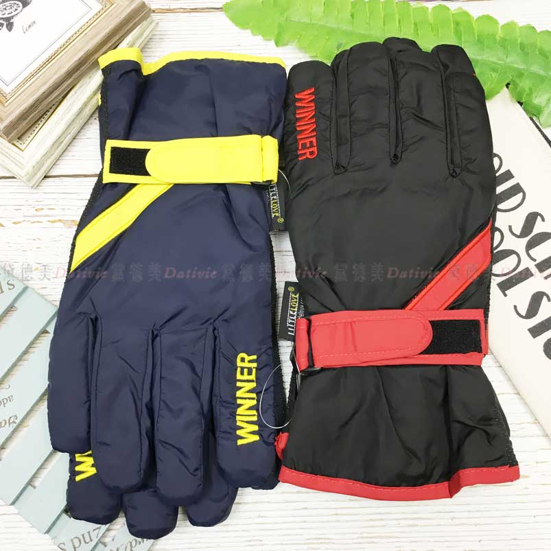 防風手套 防水 拚色 字母 釦環 內刷毛 保暖 防滑 2色 手套